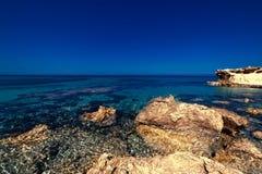 Beautiful Sunny Beach Coastline with Panorama Tranquility Bay. Stock Image