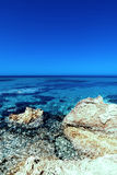 Beautiful Sunny Beach Coastline with Panorama Tranquility Bay. Royalty Free Stock Photography