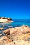 Beautiful Sunny Beach Coastline with Panorama Tranquility Bay. Stock Photo