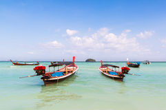Beautiful sunny blue sky and boat at Sunrise beach  Lipe island Stock Photo