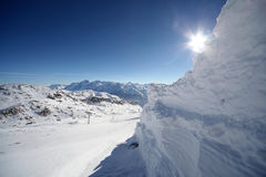 Beautiful sunny day in french alps. Image of snowy mountains in Alpe d'Huez, France. Photo taken 12.12.2011 Stock Photo