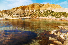 On a beautiful sunny day. Gozo Island, Malta.beach. On Malta - Gozo Royalty Free Stock Images