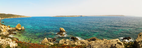 On a beautiful sunny day. Gozo Island, Malta.beach on Malta - Gozo.  Stock Photo