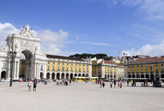 Beautiful Sunny Day, Lisbon - Commerce Square Royalty Free Stock Images