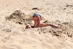 Beautiful Sunny day in the sand. stock photo