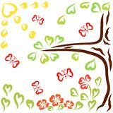 Beautiful sunny day, tree, flowers and flying butterflies, love and hearts.  vector illustration