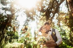 Beautiful sunny day. Wedding couple posing on the background of nature stock photo