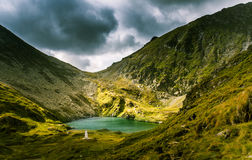 A beautiful, sunny mountain lake in Carpathians Royalty Free Stock Images