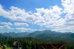 Beautiful  sunny mountain scenery in the holiday the day Royalty Free Stock Photography