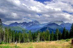 Beautiful  sunny mountain scenery in the holiday the day Royalty Free Stock Image