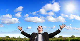Beautiful Sunny New Day And Happy Man Stock Photography
