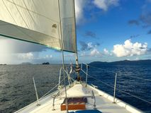 Sail on. Beautiful sunny sail in St. John USVI Royalty Free Stock Photo