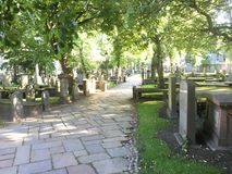 Beautiful Sunny Scottish Graveyard stock photo