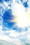 Beautiful sunny sky. Beautiful sunny blue sky with clouds royalty free stock image