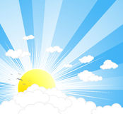 Beautiful sunny sky background. Vector illustration of a beautiful sunny sky with rays, clouds and birds Stock Photography