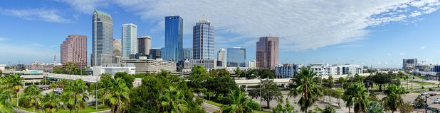 Downtown City Skyline in a Long Panorama Tampa Florida. A beautiful sunny summer day in Tampa Florida downtown stock images