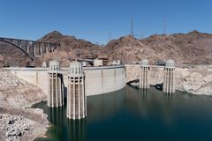 Beautiful sunny view of the Hoover Dam near Las Vegas Nevada,. And the Colorado River stock photography