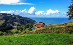 Beautiful sunny view on the sea near Deba, Basque Country, pilgrimage route Saint James Way, Northern coast of Spain. Beautiful sunny view on the sea near Deba stock photography