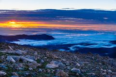 Sunrise on Top of the Clouds royalty free stock photos
