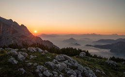 Beautiful sunrise above mountains Stock Photos