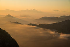 Beautiful sunrise above mountains Stock Images