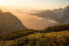 Beautiful sunrise above mountains Stock Photography