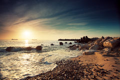 Beautiful sunrise above the sea Stock Photos
