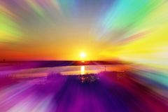 Beautiful Sunrise With Abstract Psychedelic Lights High Quality