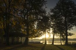 Beautiful sunrise at autumn morning in Katrineholm, Sweden Scandinavia. Lake, forest and nice sky. Calm, peaceful and joyful background image royalty free stock images
