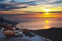 Beautiful sunrise in the Ay-Petry. stock photo