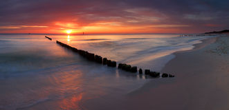 Beautiful sunrise at baltic beach Royalty Free Stock Photos