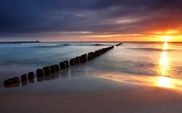 Beautiful sunrise at baltic beach in Poland Royalty Free Stock Photo
