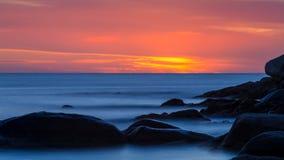 Beautiful sunrise in a bay in Costa Brava, Spain.  stock photos
