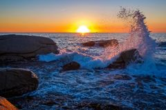 Beautiful sunrise in a bay with rocks in Costa Brava, Spain Royalty Free Stock Photos