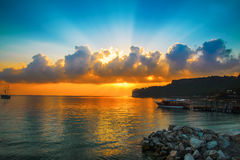 Beautiful sunrise on a bay in Turkey Royalty Free Stock Images