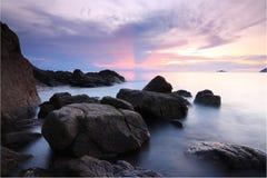 Beautiful sunrise at the beach Stock Image