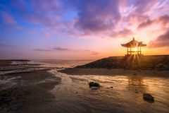 Beautiful sunrise on a beach in Bali Indonesia stock photos