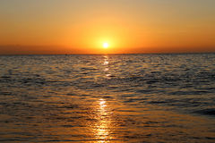 Beautiful sunrise on the beach.  Costa del Sol (Coast of the Sun), Malaga in Andalusia, Spain Royalty Free Stock Image