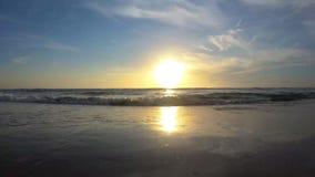 Beautiful sunrise on the beach at Main Street Pier area 3. Daytona Beach, Florida. July 12, 2019. Beautiful sunrise on the beach at Main Street Pier area 3 stock video