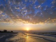 Beautiful Sunrise on Sanibel Island in Florida. Beautiful sunrise on the beach on Sanibel Island in Florida stock image