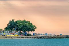 A beautiful sunrise at the beach in Sunny Beach on the Black Sea coast of Bulgaria. Bulgarian coastline dawn day horizontal morning no people nobody outdoor royalty free stock photography