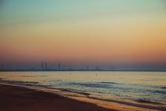 Beautiful sunrise at the Black Sea in Mamaia, Romania Royalty Free Stock Photo