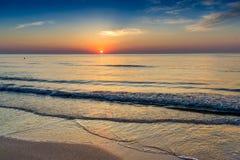 Beautiful sunrise at the Black Sea in Mamaia, Romania. MAMAIA, ROMANIA - JULY 21: Beautiful sunrise of the Black Sea shot in Mamaia tourist resort in Romania stock photo