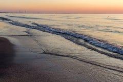 Beautiful sunrise at the Black Sea in Mamaia, Romania Royalty Free Stock Photos