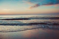 Beautiful sunrise at the Black Sea in Mamaia, Romania Royalty Free Stock Photography