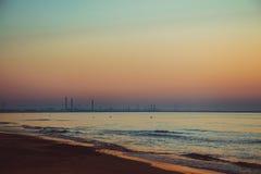 Beautiful sunrise at the Black Sea in Mamaia, Romania Royalty Free Stock Image