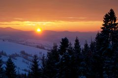 Beautiful sunrise in Carpathian mountains Royalty Free Stock Image