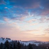 Beautiful sunrise in Carpathian mountains Stock Photos
