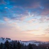 Beautiful sunrise in Carpathian mountains Stock Photos
