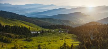 Beautiful sunrise in the Carpathian mountains Royalty Free Stock Photography